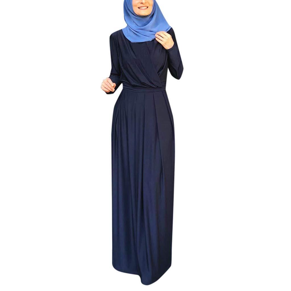 bluee Oldsch001 Womwen 's Long Pleated Neck Pull Waist Muslim Plowy Maxi Dress