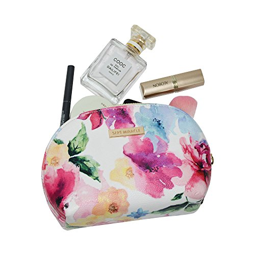 Sept Miracle Women Large Capacity Cosmetic Bag PU Make up Bag for Traveling (Flower)