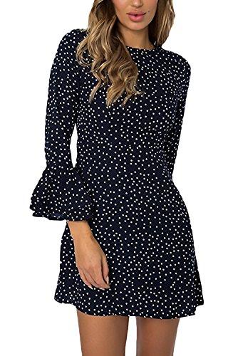 Blu Manica Vestitino Giovane Fit Tromba Dots Abbigliamento Abiti Collo  Fashion Vestiti Elegante Casual Primavera Woman Slim ... 23a05a71019