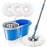 Spin Mop Bucket System with 3 Microfiber Mop Heads 5L Stainless Steel Mop Bucket with Detergent Dispenser for Floor Cleaning Masthome