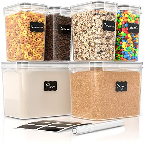 Airtight Food Storage Containers - 6 Piece BPA Free Flour Container and Sugar Container Set. These Containers are Perfect for Flour and Sugar Storage. Includes Free Labels and Marker