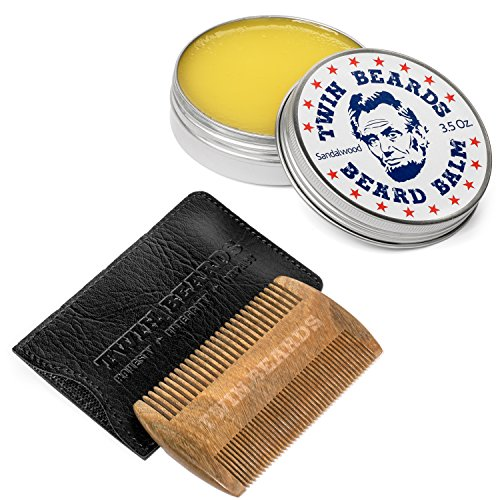 Twin Beards Set 3.5 oz Sandalwood Beard Balm & Comb with PU Leather Slipcase