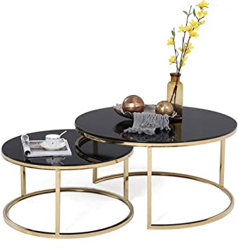 Amazon Com Dxjni Living Room Wrought Iron Coffee Table Set Simple Nordic Small Round Table Black Transparent Tempered Glass Table Top Two Pieces Combination Coffee Tables Furniture Decor