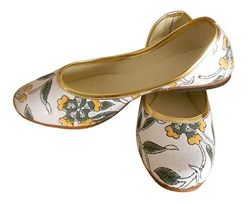 Kalra Creations Women's Traditional Indian Self Print Cotton Cloth Casual Shoes White aojqEmG