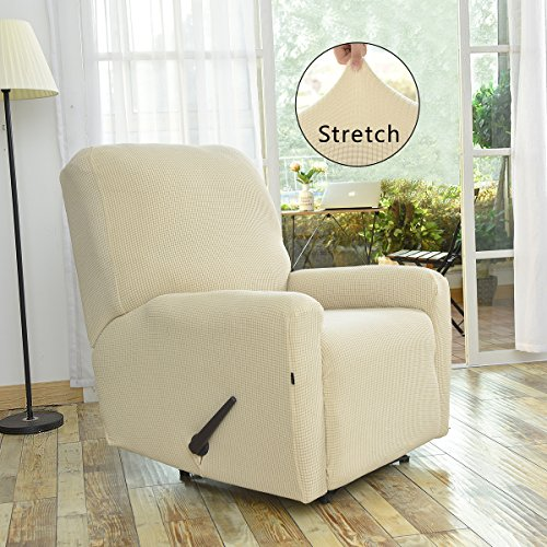 Stretch Recliner Slipcovers, Sofa Covers, 4 Pieces Furniture Protector with Elastic Bottom,Straps, Couch Shield with Pocket,Polyester Spandex Jacquard Fabric Small Checks by Easy-Going(Recliner,Ivory)