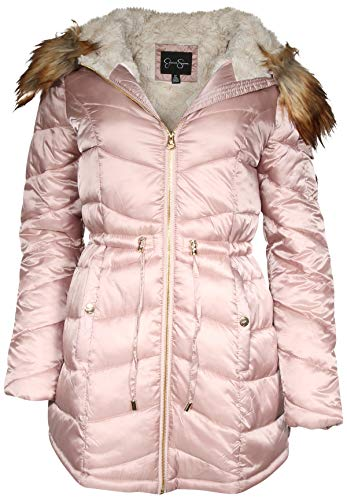 - Jessica Simpson Women Satin Puffer Bubble Jacket with Full Fur Lining, Blush, Small'