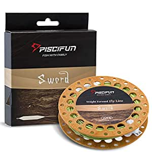 Piscifun Sword Fly Fishing Line with Welded Loop Weight Forward Floating Fly Line WF1 2 3 4 5 6 7 8 9 10wt 90 100FT, Moss Green, WF-1F 90FT