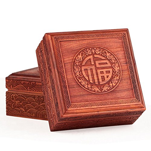 WODESHIJIE Red Sandalwood Carving Stamp Seal Box/Ornament Storage Box/The Character Mahogany Box/Chinese Box/Jade