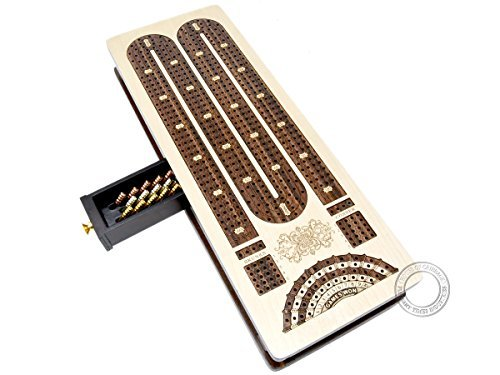 House of Cribbage - Continuous Cribbage Board / Box inlaid in Rosewood / Maple - 4 Track - Sliding Lid with Score marking fields for Skunks, Corners and Won Games ()