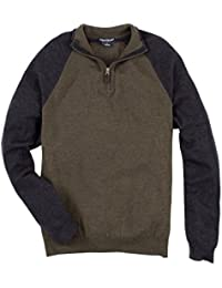 Mens Raglan 1/4 Zip Sweater (Army Marled/Charcoal Heather) 9619521-. Tailor Vintage