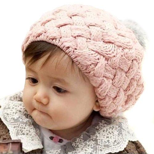 LOCOMO Baby Infant Boy Girl Knit Beanie Crochet Rib Pom Hat Cap Pink (2012 Autumn Fashion)