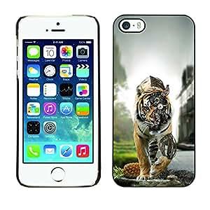 Caucho caso de Shell duro de la cubierta de accesorios de protección BY RAYDREAMMM - iPhone 5 / 5S - Tiger Steampunk