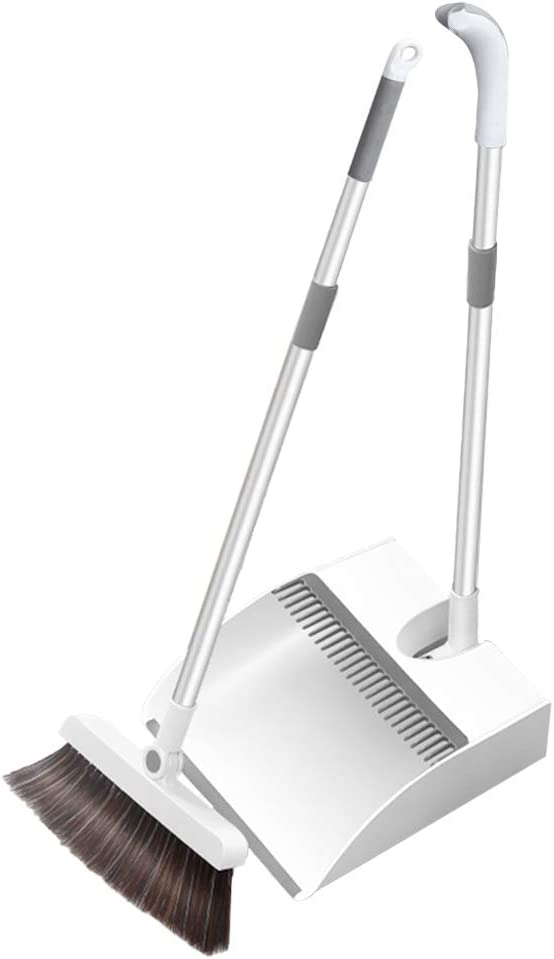 KLDJHNS Broom and Dustpan, Household Sweeping Soft Broomed and Dustpan Set Folding Telescopic Storage - for Home Indoor Kitchen Lobby Office Living Room
