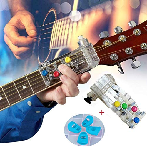 Guitar Aids, Chord Novice Lazy Artifact Pain-proof Finger Finger Finger Booster Guitar Auxiliary, Guitar Learning System Teaching Practrice Aid ChordBuddy Lesson (1 x Guitar Aid + 4 x Fingers)