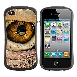 Paccase / Suave TPU GEL Caso Carcasa de Protección Funda para - Eye Bird Intense Macro Photo Fire - Apple Iphone 4 / 4S