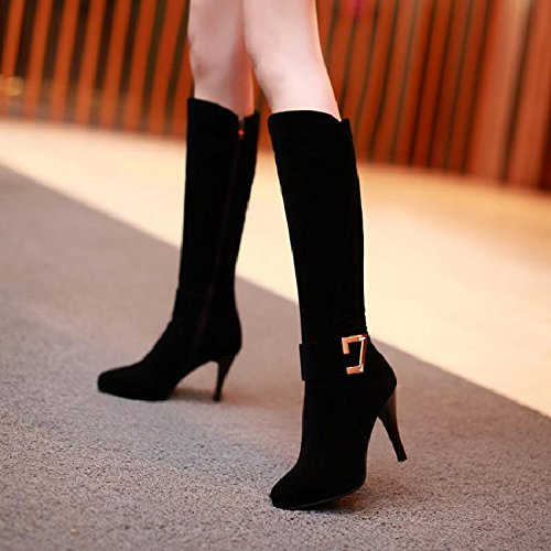 KHSKX-Suede High-Heeled Boots Boots With Children Long Winter Winter Boots With A Fine Tall Canister Boots Black ZSR7N