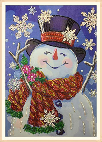 Diamond Painting DIY 5D Special Shape Rhinestones, ABEUTY Snowman with a Hat Christmas, Partial Drill Crystal Diamond Art Kits