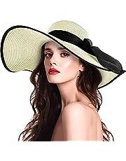 Sombrero de paja para mujer con ala ancha UPF 50, sombrero de verano plegable, plegable, enrollable, sombrero de playa para mujer
