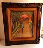 Girl with Umbrella Pastel Drawing Framed Original