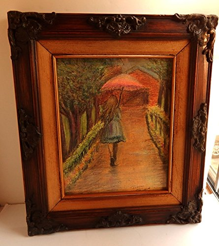 Girl with Umbrella Pastel Drawing Framed Original by Serendipitini