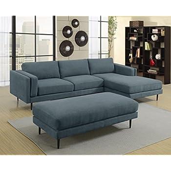 Amazon.com: MYCO Furniture Colby Denim Sectional Sofa: Kitchen & Dining