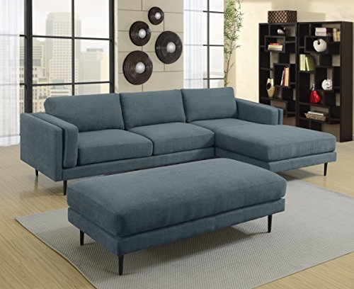 MYCO Furniture Colby Denim Sectional Sofa (Sectional Denim Sofa)