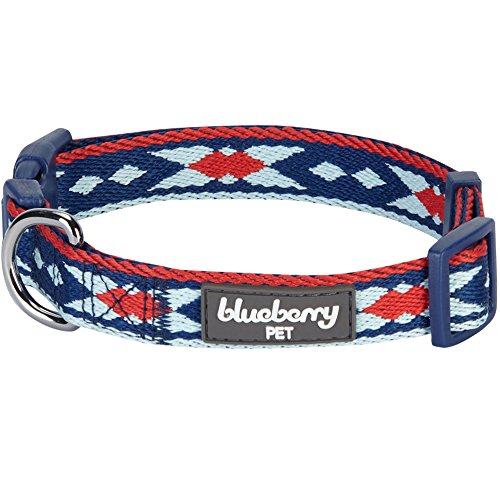 Blueberry Pet 13 Colors Epic Tribal Print Navy Braided Dog Collar, Large, Neck 18-26, Adjustable Collars for Dogs