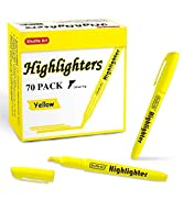 70 Pack Highlighters, Shuttle Art Yellow Highlighters with Versatile Chisel Tip, Highlighter Mark...