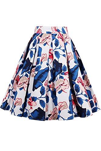 Femmes lgant Nimpansa Vintage Jupes Les Dcollet Midi pour White10 wqa567Ha