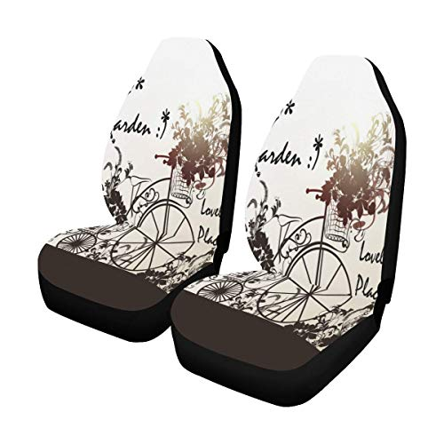 INTERESTPRINT Old Fashioned Bicycle Flowers Car Seat Covers Set of 2 Vehicle Seat Protector Car Covers for Auto Cars Sedan SUV]()