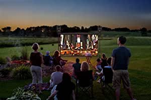 Backyard Theater Systems 9-foot Indoor/Outdoor Entertainment System, 1080p HD projector+ WIFI Blu-ray player