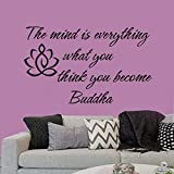 Wall Decal Art Buddha Quote 'The Mind is Everything What You Think You Become Buddha'Bible Verse (X-Large) Home Wall Sticker for Bedroom Living Room