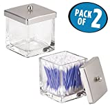 mDesign Bathroom Vanity Square Glass Storage Organizer Canister Jar, with Lid for Q tips, Cotton Swabs, Cotton Rounds, Cotton Balls, Makeup Sponges, Bath Salts - Pack of 2, Clear/Brushed