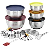 VonShef 17 Piece Premium Mixing Bundle with 5 Stainless Steel Mixing Bowls, ...