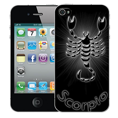 Mobile Case Mate iPhone 4s Silicone Coque couverture case cover Pare-chocs + STYLET - Black Scorpio pattern (SILICON)