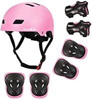 NESSKIN Skateboard Cycling Helmet for Kids & Toddler-ASTM & CPSC Certified,Knee Elbow and Wrist Pads f