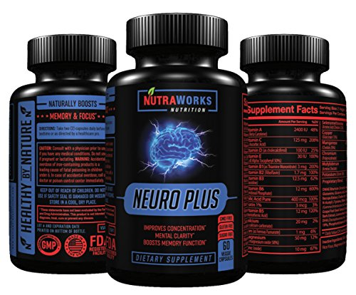 Neuro Plus Brain Support Supplement - Memory, Focus & Clarity Formula - Nootropic Scientifically Formulated for Optimal Performance - DMAE, L-Glutamine, Green Tea Extract, Bacopa, Choline & More