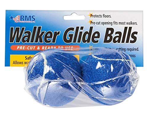 RMS Walker Glide Balls | A Set of 2 Balls | Precut Opening for Easy Installation | Fit Most Walkers (Blue)