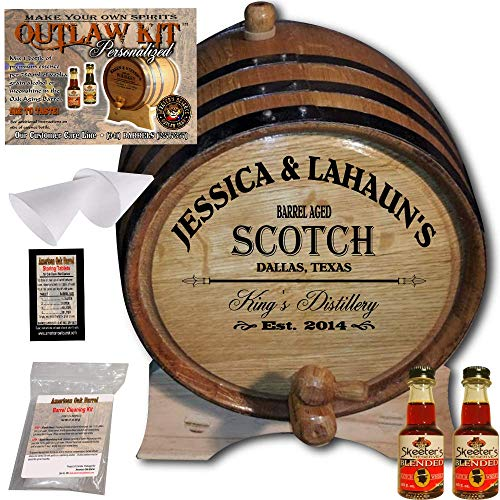 Personalized Whiskey Making Kit (061) - Create Your Own Blended Scotch Whiskey - The Outlaw Kit from Skeeter's Reserve Outlaw Gear - MADE BY American Oak Barrel - (Oak, Black Hoops, 2 Liter) ()