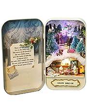 DIY Miniature Handmades Box, Mini Dollhouse Natural Theme With LED Light for Friends Kids Presents (Tre alternativ)