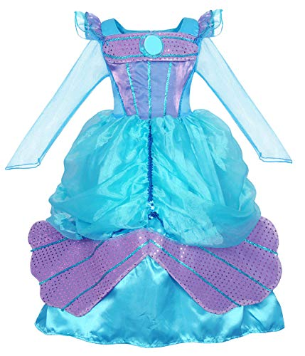 AmzBarley Little Mermaid Dress Girls Princess Ariel Costumes Kids Fancy Party Dress up Birthday Outfit Holiday Halloween Ball Gown Age 8-9 Years Size 10 Blue