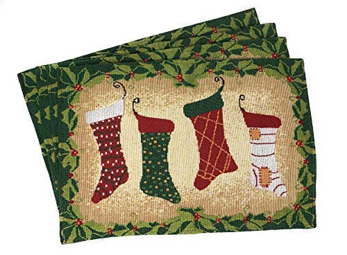 Tache Home Fashion Hang My Stockings by The Fireplace Christmas Holiday Festive Woven Decorative Tapestry Placemats (Christmas Placemats Gold)