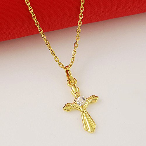 CS-DB 24K Gold Real 24K Yellow Gold Plated Zircon Prism Cross Pendant Men Lady Necklace 18.4