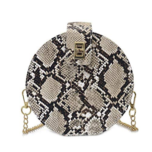 Women Snakeskin Leather Shoulder Crossbody Bag Round-shaped Clutch Handbag with Removable ()