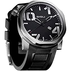 SISU Bravado Q3 Quartz Men's Watch, Black Dial, Rubber Strap (Model: BQ3-50-RB)