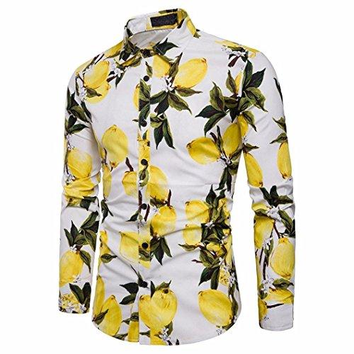 larga Aimee7 tops flores slim negocios top casual corte funky estampadas Hombres camisa de blanco manga SXRSr