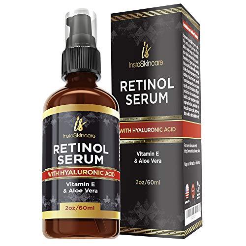 51NPNNEnryL - Retinol serum for face (2oz) with Hyaluronic Acid + Vitamin A and E + Aloe Vera Anti aging moisturizer - Fade Dark Spots - Clinical Strength Formula