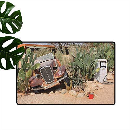 Vintage Car,Printed Carpet Old Broken Car and Desert Plants Gasoline Station Vintage Rusty Vehicle Photo 36