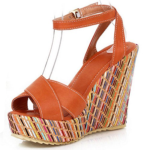 LongFengMa Women's Fashion Wedge High Heeled Sandals with Colored Heels Orange 5Onn6