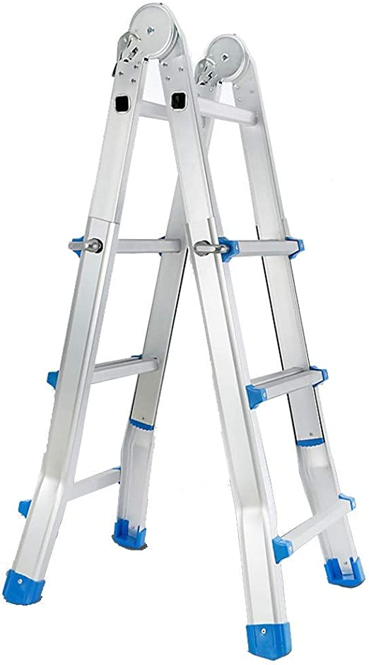 AA-SS-Ladder Aluminio de Escalera Gigante Little de 4 m / 13 pies - Escalera de extensión Profesional portátil de 4 Pasos, Azul, 150 kg: Amazon.es: Hogar